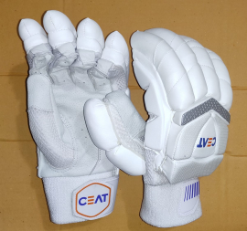 CEAT Gripp Star All White Cricket Batting Gloves Men's