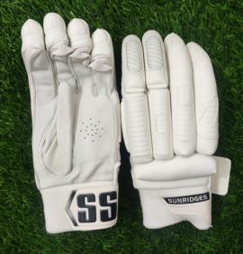 SS All White Dhoni 7 Cricket Batting Gloves Men's