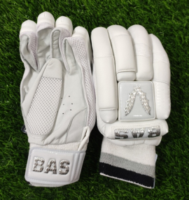 BAS Pro All White Cricket Batting Gloves Men's