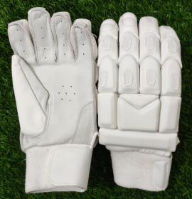 Ultimate All White Light Weight Unbranded Cricket Batting Gloves Men's