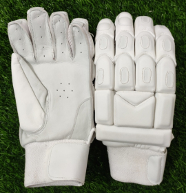 Ultimate All White Light Weight Unbranded Cricket Batting Gloves (LARGE)