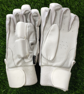 Ultimate All White Pittard Light Weight Unbranded Cricket Batting Gloves Men's (LARGE)