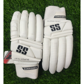 SS Super Test All White Cricket Batting Gloves Men's
