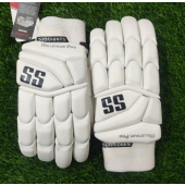 SS Millenium All White Pro Cricket Batting Gloves men's